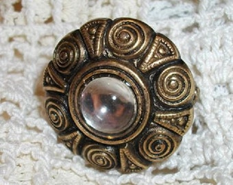 Antique Gold Swirl and Crystal Stretch Ring