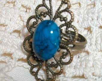 Antique Gold Filigree and Turquoise Adjustable Ring
