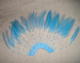 Sky Blue Hackle Pinwheel with Beads