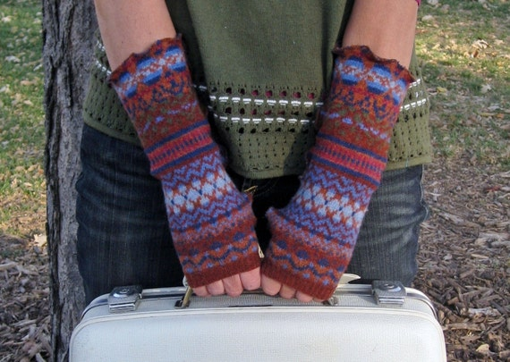 Eco Friendly Upcycled Sweater Fingerless Wrist Warmers