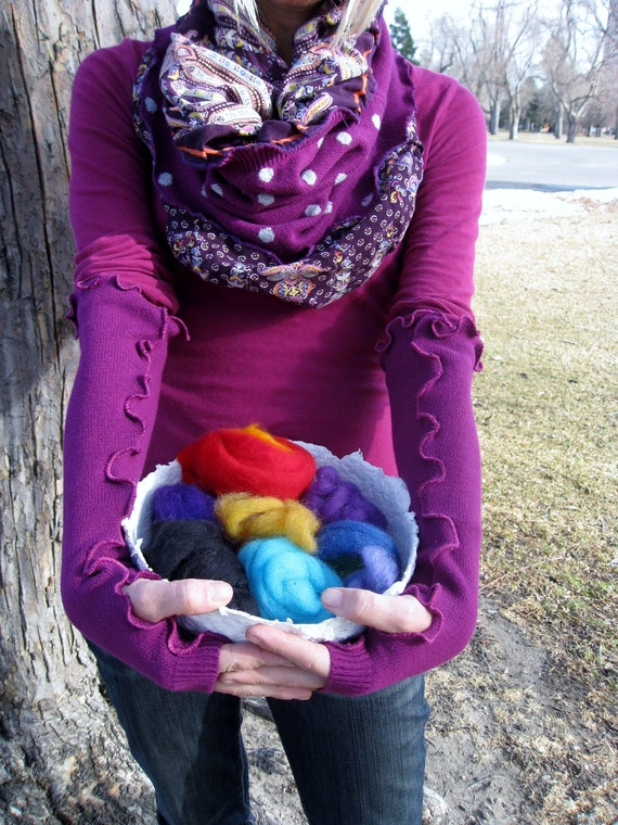 Eco Friendly Upcycled Sweater Long Fuchsia Fingerless Arm Warmers