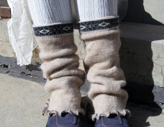 Eco Friendly Upcycled Sweater  Leg Warmers in Soft Alpaca