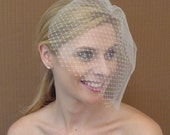 Double Layer Tulle and French / Russian Net Birdcage Veil in Ivory White or Black - READY TO SHIP in 3-5 Days