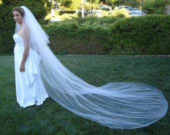 Two Tier Cathedral Length 120 inches long Bridal Veil, Plain Cut - READY TO SHIP in 3-5 Business Days