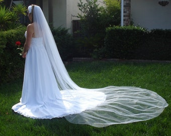 Cathedral Length One Tier Bridal Veil 120 inches, Clean Cut Edge In light Ivory, diamod white or White - READY TO SHIP in 3-5 Days