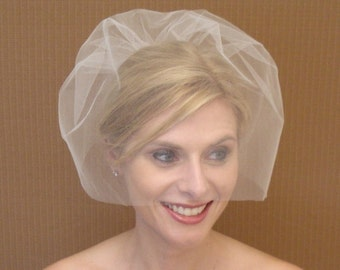 Tulle Birdcage Veil in Ivory, Off-White, White, Blush, Champagne, Black - READY TO SHIP in 3-5 Days