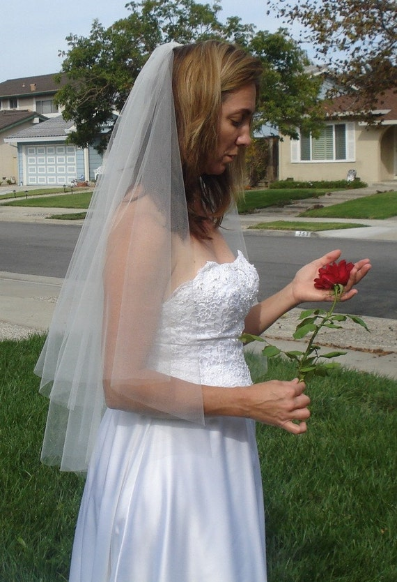Fingertip Length Two Tier Raw Edge Circular Cut Wedding Veil, Ivory or White - READY TO SHIP in 3-5 Days