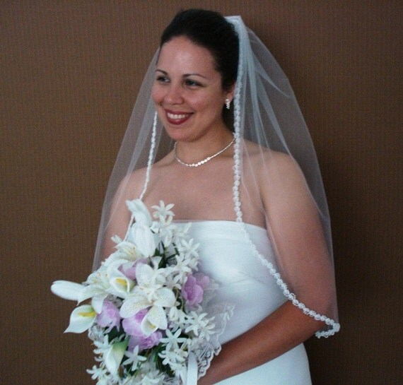 White Waist Length Wedding Veil with Rose Bud and Pearl Trim - READY TO SHIP in 1 or 2 days