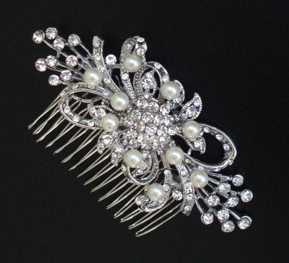 Vintage Style Bridal Rhinestone Hair Comb with Ivory or White Swarovski Pearls/ or without pearls/ brooch