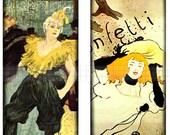 SALE - Digital  Sheet 1 X 2 Toulouse Lautrec Ladies 1890's Paris Art Scraps Domino Pendant Size CS 189