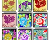 Digital Printable Floral Squares Digital Collage Printable Download 1 Inch Squares Asian Flowers Multicolor Japanese Chinese CS 47