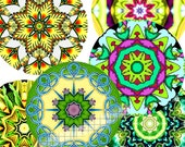 Digital Art, Pocket Mirrors, 2.5 Inch Size, Mandalas, Kaleidoscopes, Greens, TWO Sheets 12 Designs MIRRORS 7