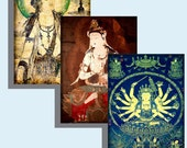 Digital Collage Sheet - Digital Art - Instant Download  - ACEO -  Buddhist and Hindu Deities 2.5 X 3.5  2 Sheets 12 Cards ACEO24