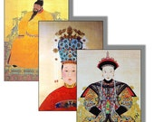 ACEO Size, Digital Collages,  Asian Art, Chinese Emperors and Empresses,  2.5 X 3.5 for Art Cards and More 2 Sheets 12 Cards ACEO 23