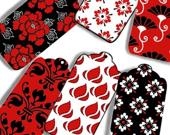 Printable Digital Downloads, Instant Download, Hang Tags, GiftTags, 21 Different  Patterned Prints in Red Black & White CS 192