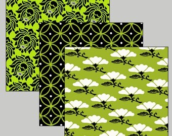 Digital Collage Sheet  Digital Art  3-Inch Squares Paper Pack 12 Japanese Allover Designs Lime Black White TWO SHEETS  CS 46