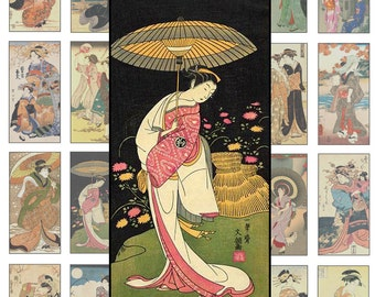 Printable  Digital Collage Sheet, Digital Art,  1 X 2 Inch,  Geisha Antique Asian Art Clipart Japanese Art Printable Download  CS 155