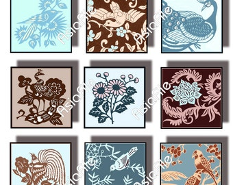 Printable 1 Inch Squares, Digital Art,  Blues and Browns, Birds and Flowers, Asian  Art, Digital Chinese CS 66