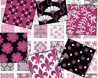 Printable Digital Art, 1 Inch Squares, Raspberry Pinks, Black and White, Swirls and Flowers, World Designs, 48 Squares, CS 26