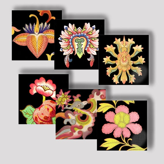 Printable 1 Inch Squares,  Digital Collage Sheet,  Asian Art,  Chinese Ornament Motifs Vibrant Colors on Black Printable Download CS 125