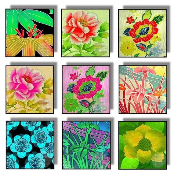 SALE - Digital Collage Printable Download 1 Inch Squares Asian Flowers Multicolor Japanese Chinese CS 47