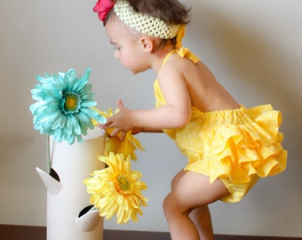 Yellow Polka Dot Ruffled Sunsuit- Newborn to 2T