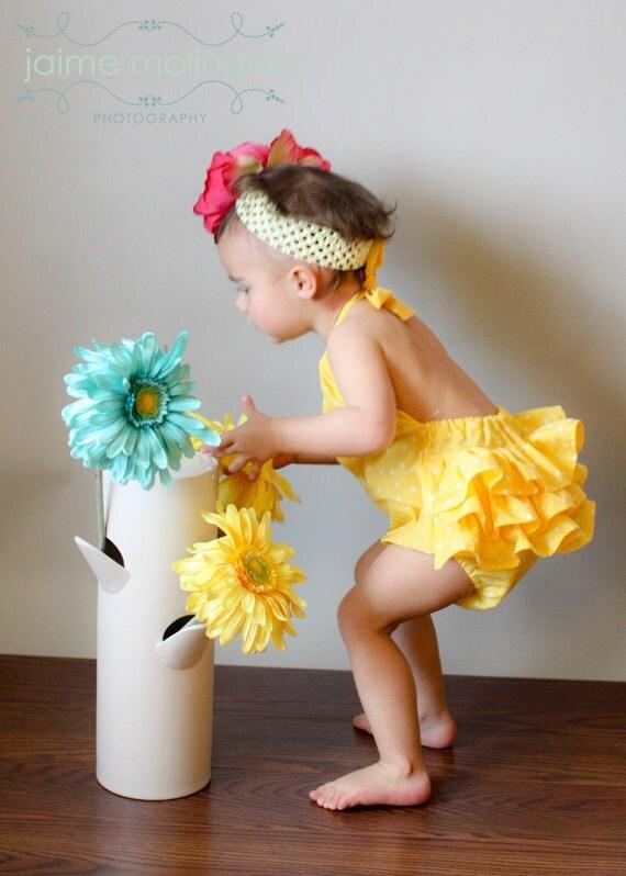 Yellow Polka Dot Ruffled Sunsuit- Newborn to 2T