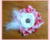 Fascinator Regal Rosette Strawberry Tea Party Hair Clip Photo Prop Wedding