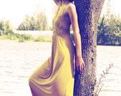 SALE - Maxi halter dress in sunshine yellow