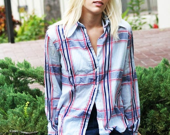1970's Blue/Red button down collared long sleeve stripped shirt