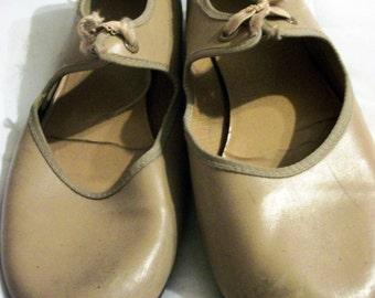 Vintage kids tan tap shoes