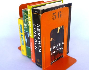ORANGE INDUSTRIAL BOOKENDS / lightly distressed