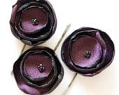 Deep Purple Rose Bobbi Pin Fabric Flower Hair Accessories - women bride