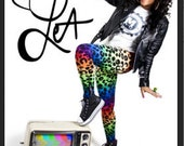 "Rainbow Leopard ""Lisa Frank"" Leggings ((((((Only a Few Yards Left)))))"