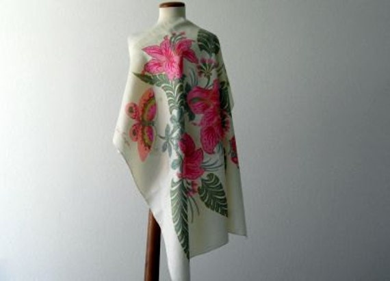 Vintage Designer Silk Scarf Jim Thompson 1970s Etsy Sale