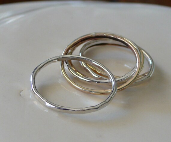 Sterling Silver Skinny Stack Rings-Set of 4 Silver Stacking Rings