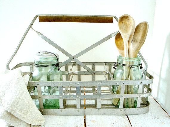 vintage metal bottle carrier with wood handle
