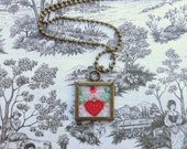 Vintage Embroidered Linen Necklace (Heart)