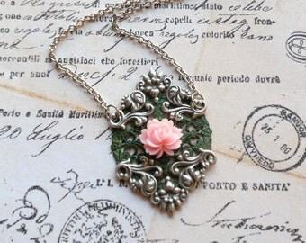Romantic Verdigris Green Filigree and Pink Rose Flower Pendant Shabby Chic Vintage Inspired