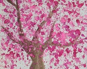 Cherry Blossom Tree Abstract Watercolor 9x12