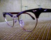 Vintage Brown Eyeglasses 1950s 1960s with Silver Accents