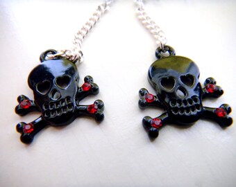 Skull and Crossbones Rhinestone Earrings