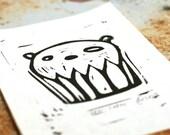 original black bear cupcake relief print