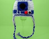 R2D2 Earflap Hat from Star Wars, Gray and Blue Crochet Beanie, Baby - Adult please send size