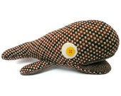Whale Stuffed Animal Plushie - Stuffed Whale - Brown Vintage style stuffie