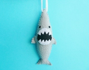 Funny Shark Ornament - Ferocious Shark, Christmas handmade felt ornaments, shark week, unique ornaments, gifts for him, gifts for men