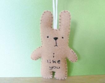 Bunny ornament plush, handmade Christmas ornaments
