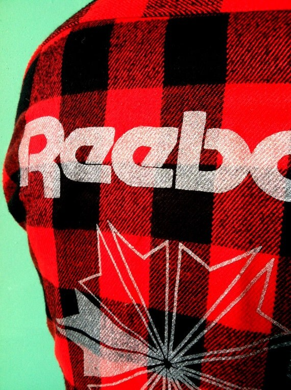 SALE - Authentic 1950s Vintage SEARS Flannel with Silver REEBOK Logo
