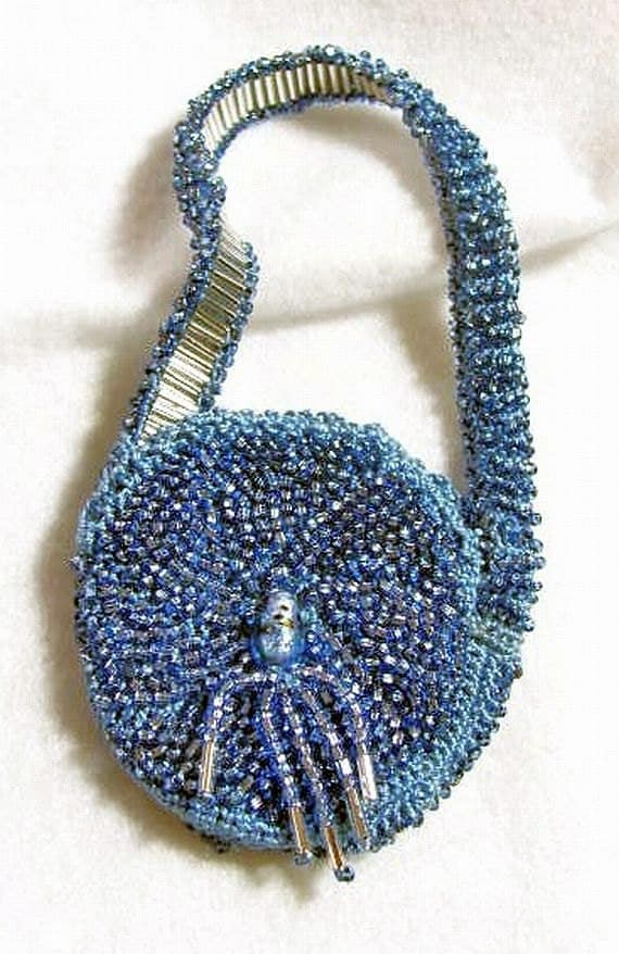OOAK  Beaded Evening Bag in Blue and Silver