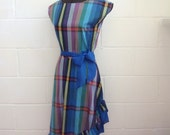 Blue checked 1980s asymetrical dress with sash belt, S - M - SALE